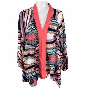 Cato Multicolored Print 3/4 sleeve kimono Size 24